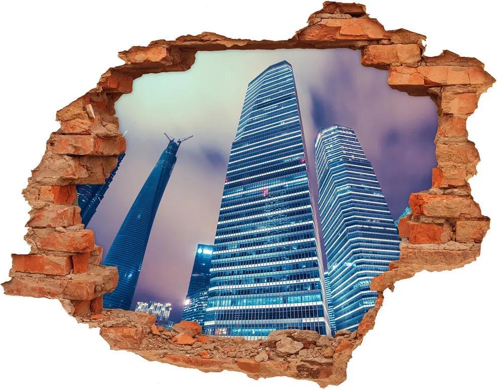 Fototapet un zid spart cu priveliște Zgârie-nori