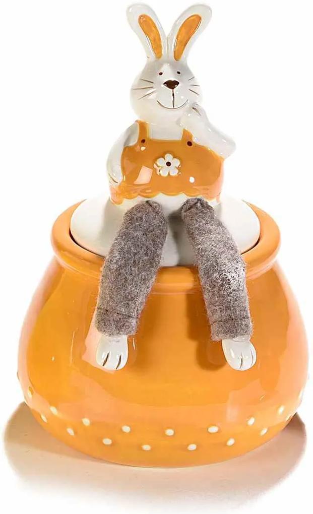 Borcan decorativ Paste model Iepuras ceramica portocaliu maro Ø 12 cm x 18 H