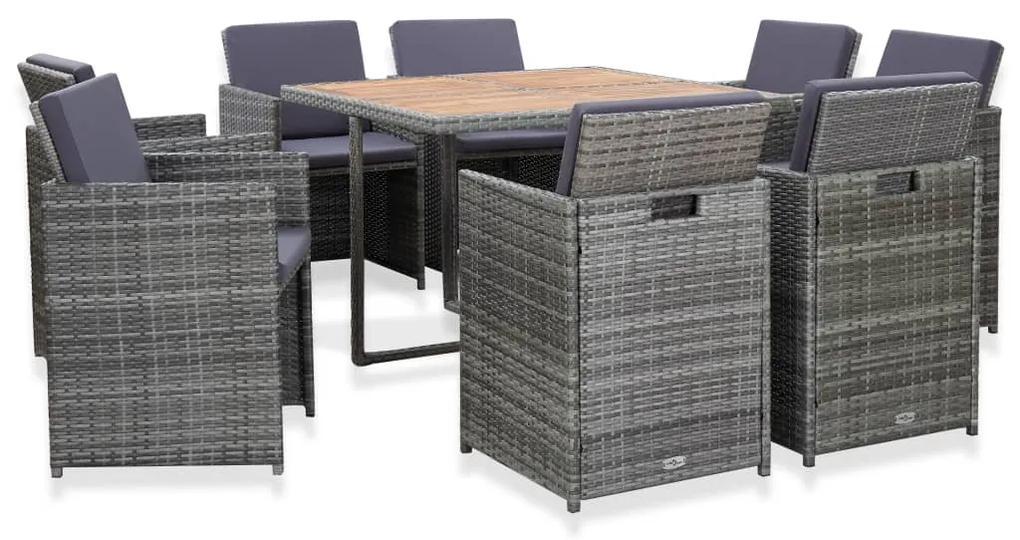 46377 vidaXL Set mobilier de exterior cu perne, 9 piese, antracit, poliratan