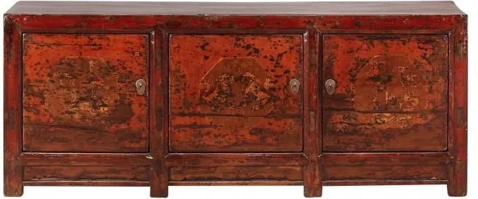 Bufet inferior rosu din pin 188 cm Sideboard