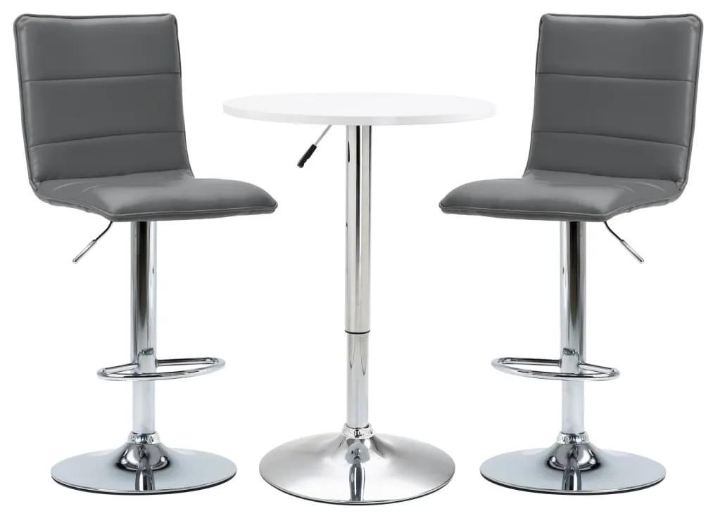 279612 vidaXL Set mobilier de bar, 3 piese, alb, piele ecologică