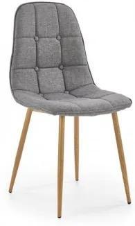 Scaun tapitat cu stofa, cu picioare metalice K316 Gri / Stejar, l45xA56xH87 cm