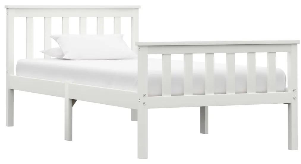 283215 vidaXL Cadru de pat, alb, 100 x 200 cm, lemn masiv de pin