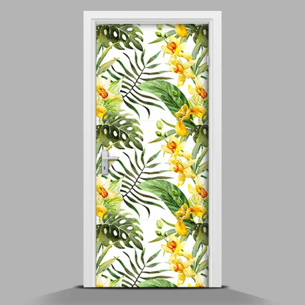 Autocolant uşă Orhidee galbene