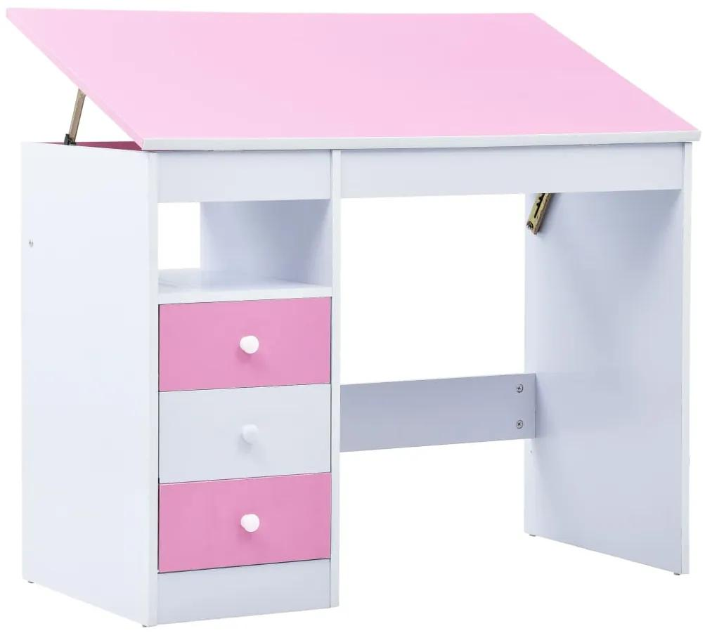 287447 vidaXL Birou de studiu & desenat pentru copii rabatabil, roz și alb
