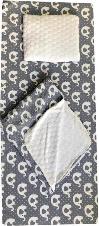 Deseda - Set 3 piese de iarna paturica cu cearsaf si pernuta pentru pat 140x70 cm, Elefanti gri