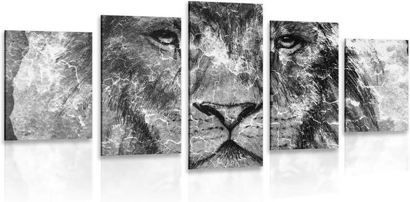Tablou 5-piese fața leului în design alb-negru