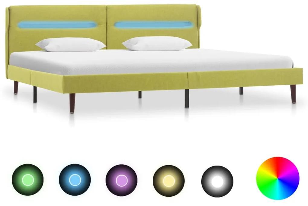 286905 vidaXL Cadru de pat cu LED-uri, verde, 160 x 200 cm, material textil