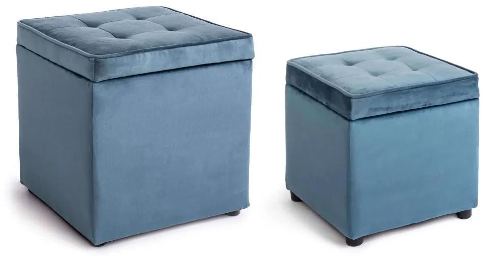 Set 2 pufi din catifea albastra cu capac Bellville Blue