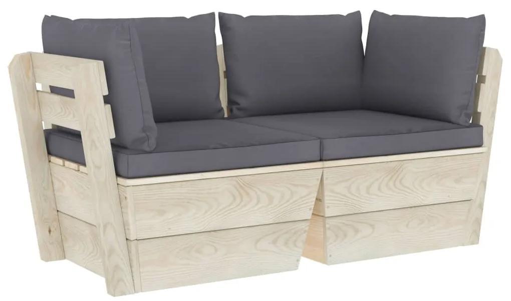 3063384 vidaXL Canapea grădină din paleți, 2 locuri, cu perne, lemn de molid