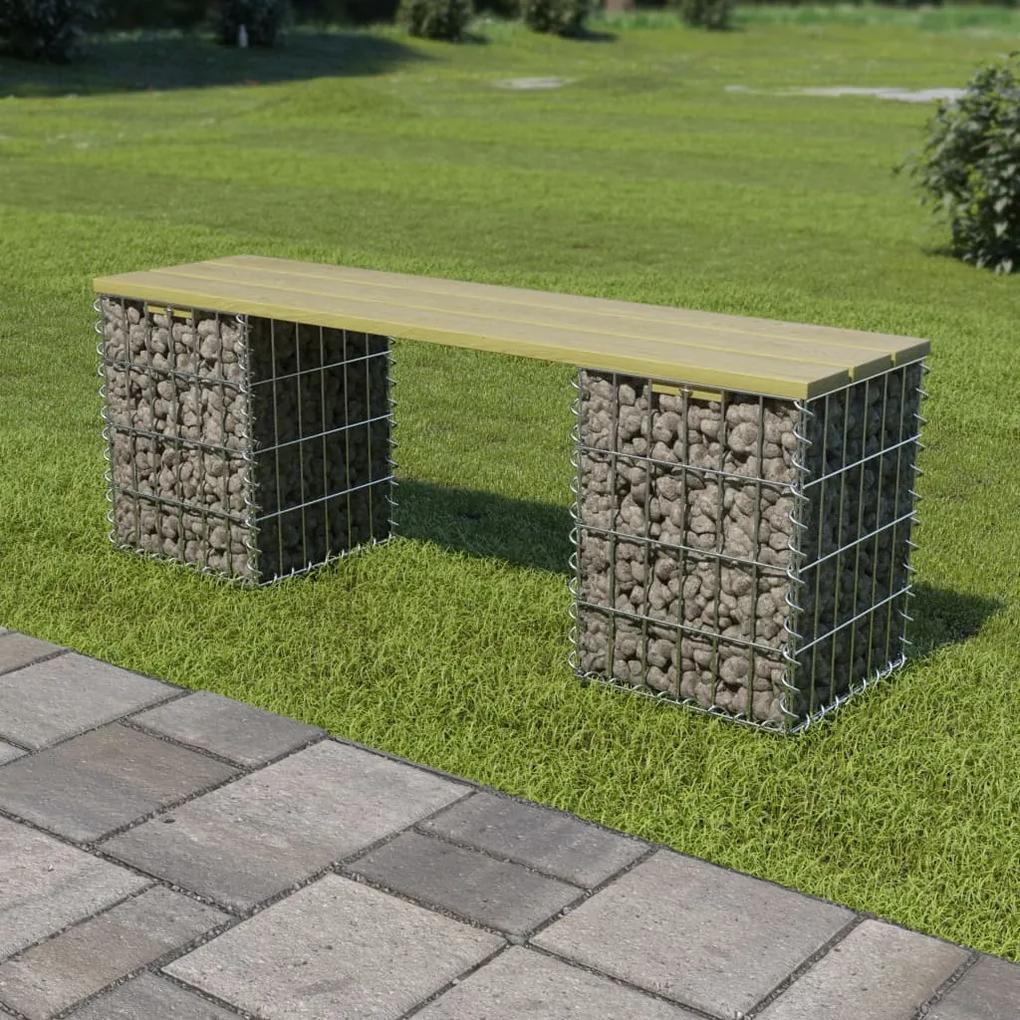 275896 vidaXL Bancă gabion, 120 cm, oțel galvanizat și lemn de pin