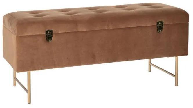 Bancheta textil maro cu picioare din metal Bench Chest Brown