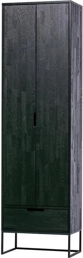 Dulap negru din lemn de frasin si metal 210 cm Silas