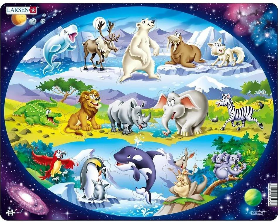 Puzzle Larsen Animale în lume, 15 piese