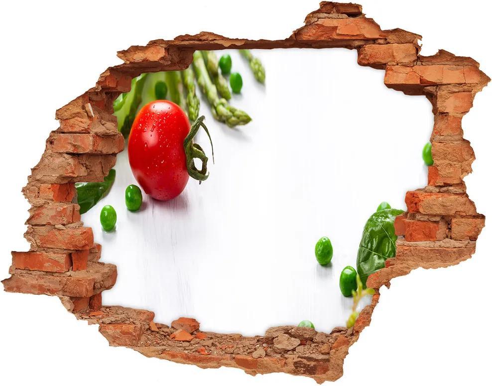 Autocolant de perete gaură 3D Legume proaspete