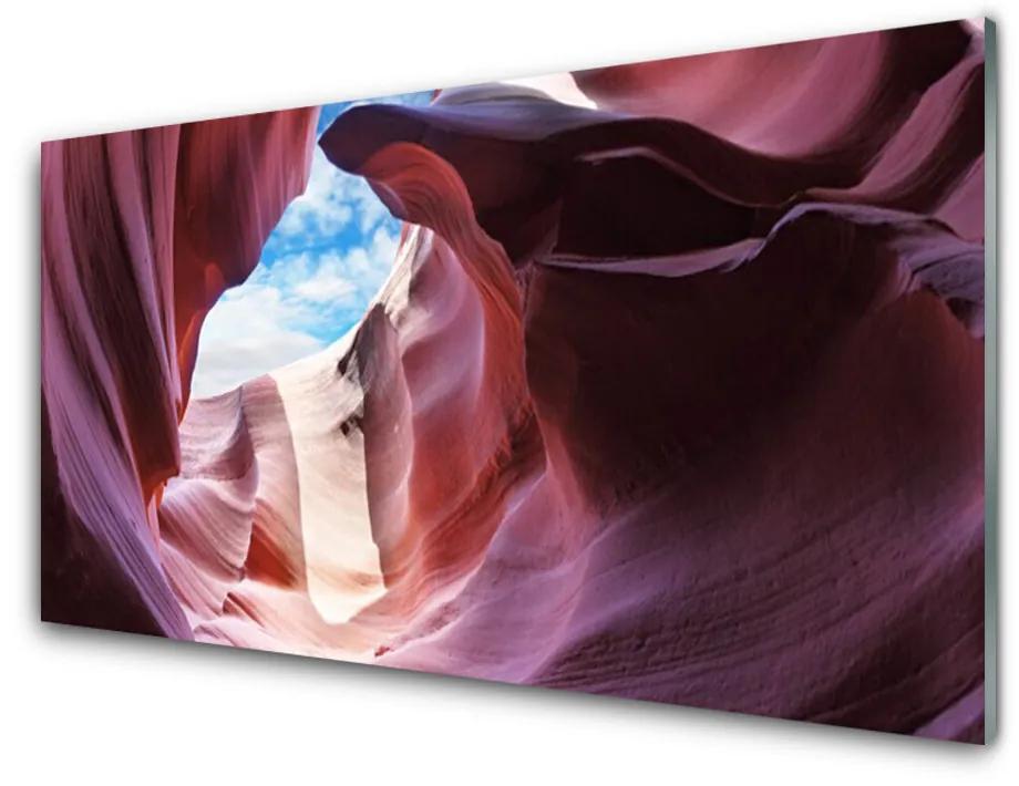 Tablou pe sticla Rock River Cazare Art roz albastru