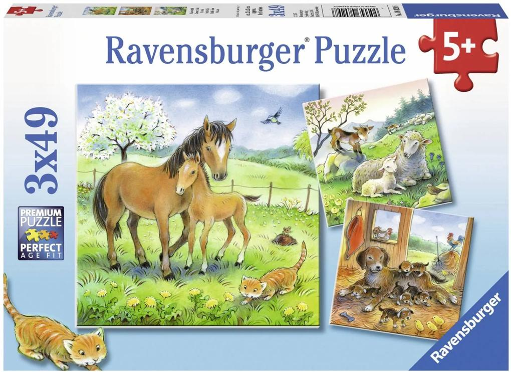 Puzzle Copii 5Ani+ animale si pui, 3x49 piese