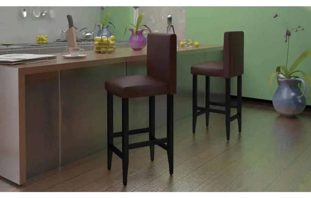 160717 vidaXL Scaune de bar, 4 buc., maro închis, piele ecologică