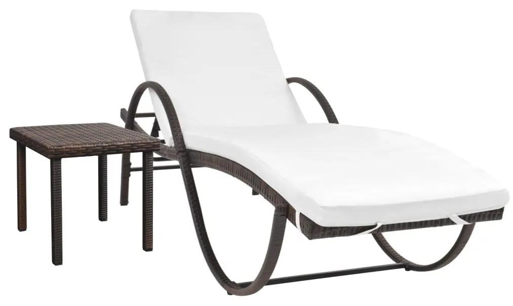 42885 vidaXL Șezlong de plajă cu pernă și masă, maro, poliratan