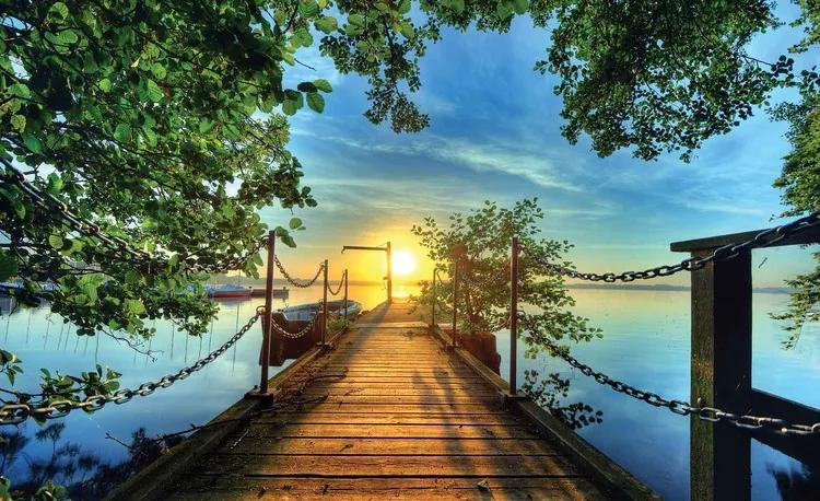 Path Pier Trees Boats Sunset Fototapet, (104 x 70.5 cm)