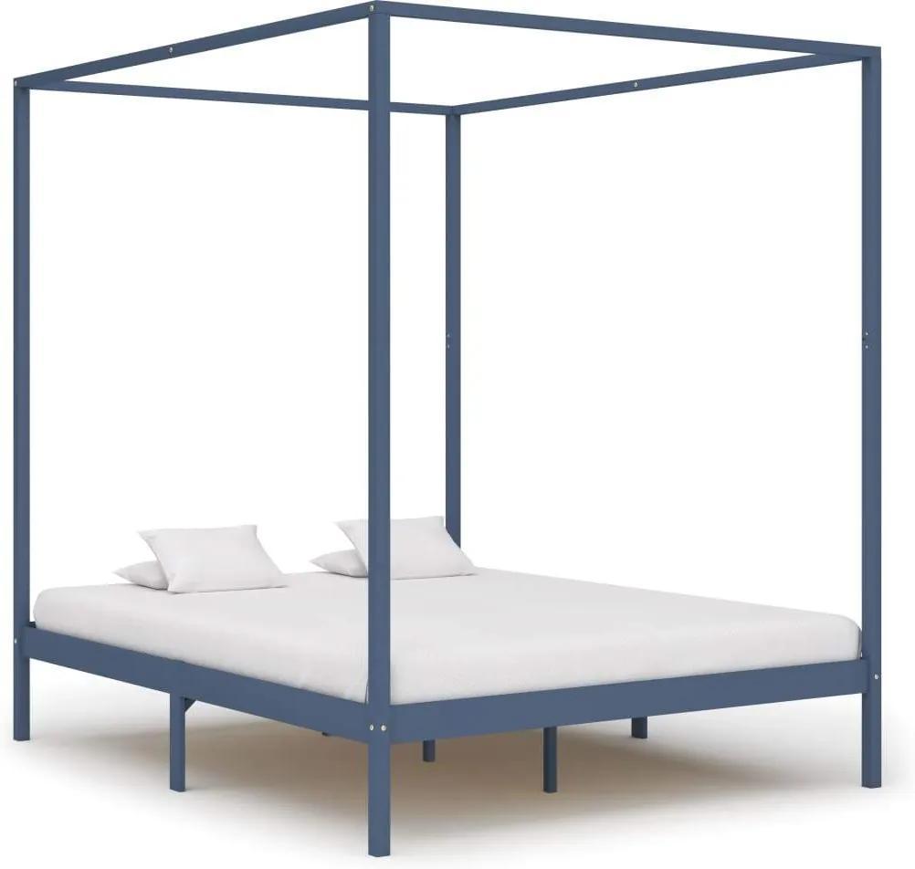 Cadru pat cu baldachin, gri, 180 x 200 cm, lemn masiv de pin