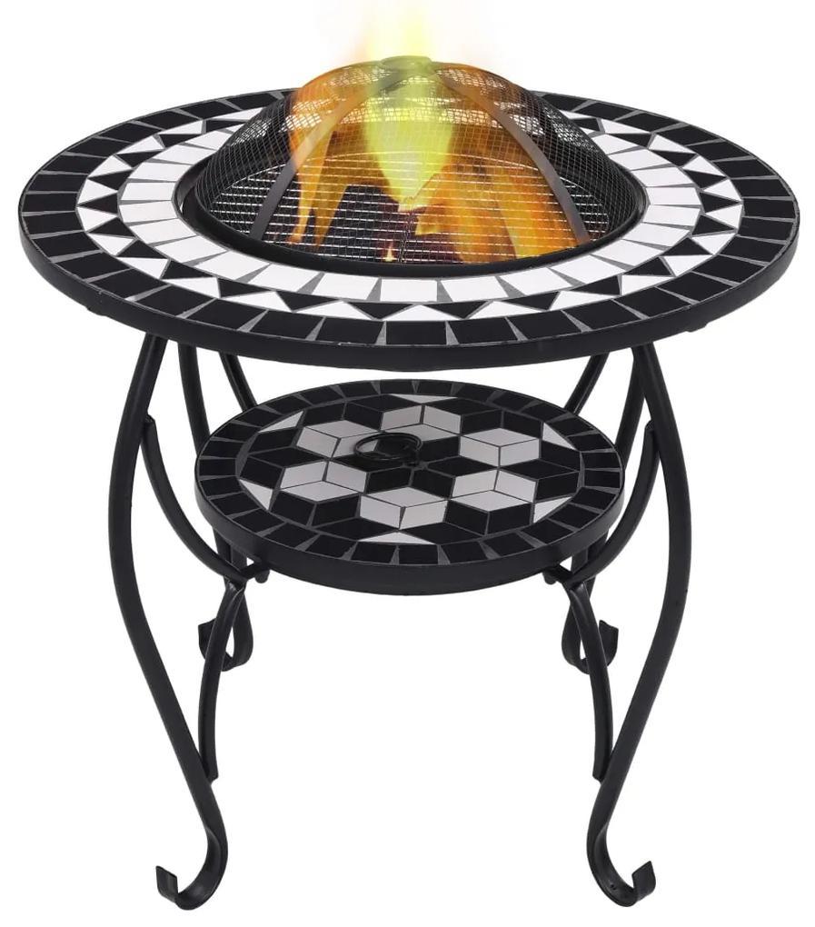 46725 vidaXL Masă cu vatră de foc, mozaic, negru și alb, 68 cm, ceramică