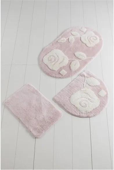 Set 3 covoare baie Pinkie Duro, roz deschis