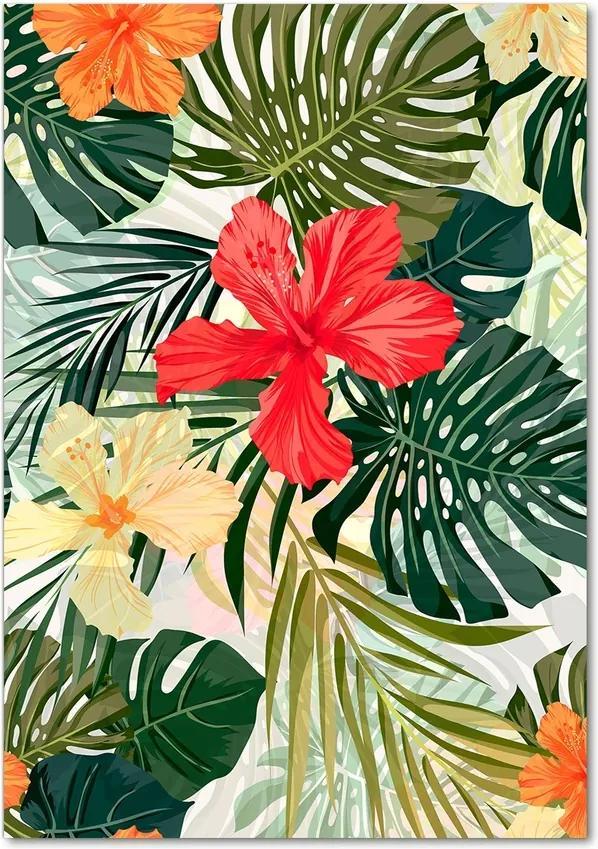 Tablou pe sticlă acrilică Flori Hawaii