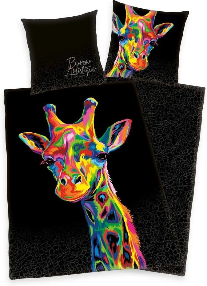Lenjerie de pat din satin Bureau Artistique - Colored Giraffe, 140 x 200 cm, 70 x 90 cm
