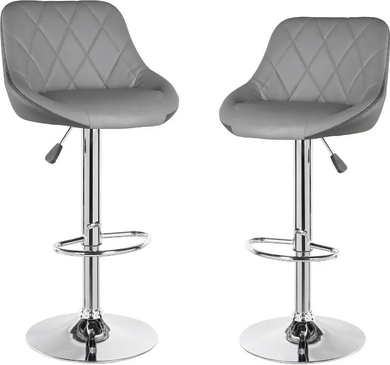 Set 2 scaune de bar PETRA, baza cromata, piele ecologica, gri