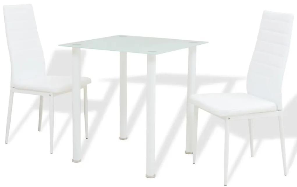 242934 vidaXL Set masă și scaune de bucătărie 3 piese, Alb