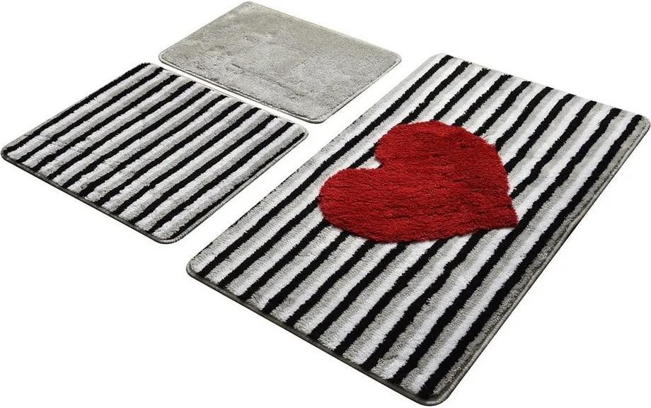 Set 3 covorașe de baie Confetti Bathmats Heart