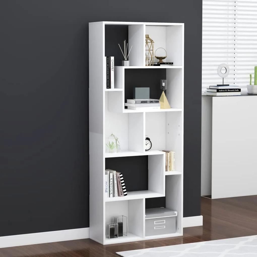 801877 vidaXL Bibliotecă, alb, 67 x 24 x 161 cm, PAL