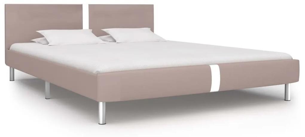 280844 vidaXL Cadru de pat, cappuccino, 160 x 200 cm, piele ecologică