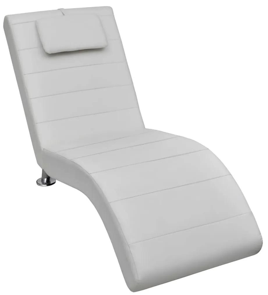 240710 vidaXL Șezlong cu pernă, alb, piele ecologică