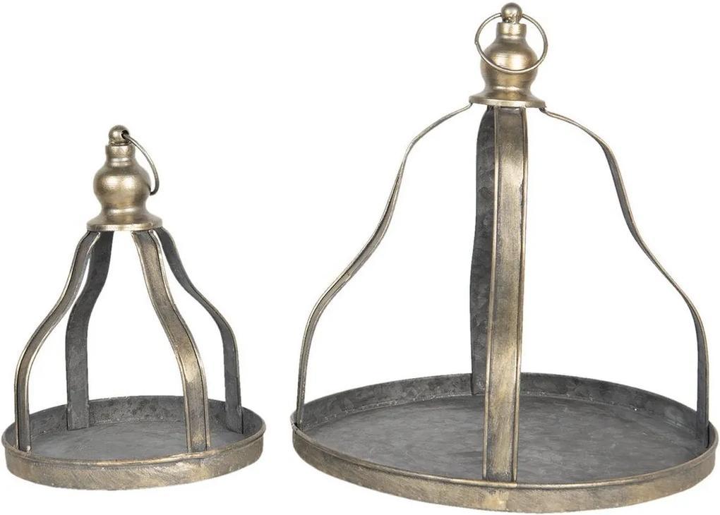 Set 2 suporturi suspendabile pentru ghivece flori din fier negru cu patina aurie Ø 29 cm x 31 h