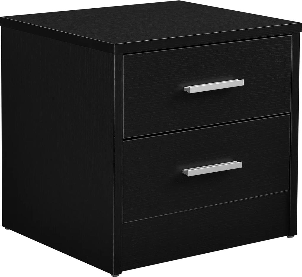 [en.casa]® Noptiera cu 2 sertare - comoda - negru