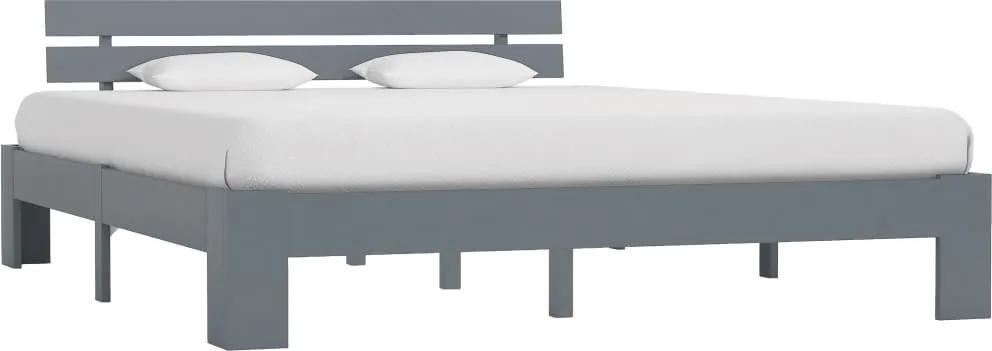 Cadru de pat, gri, 180 x 200 cm, lemn masiv de pin