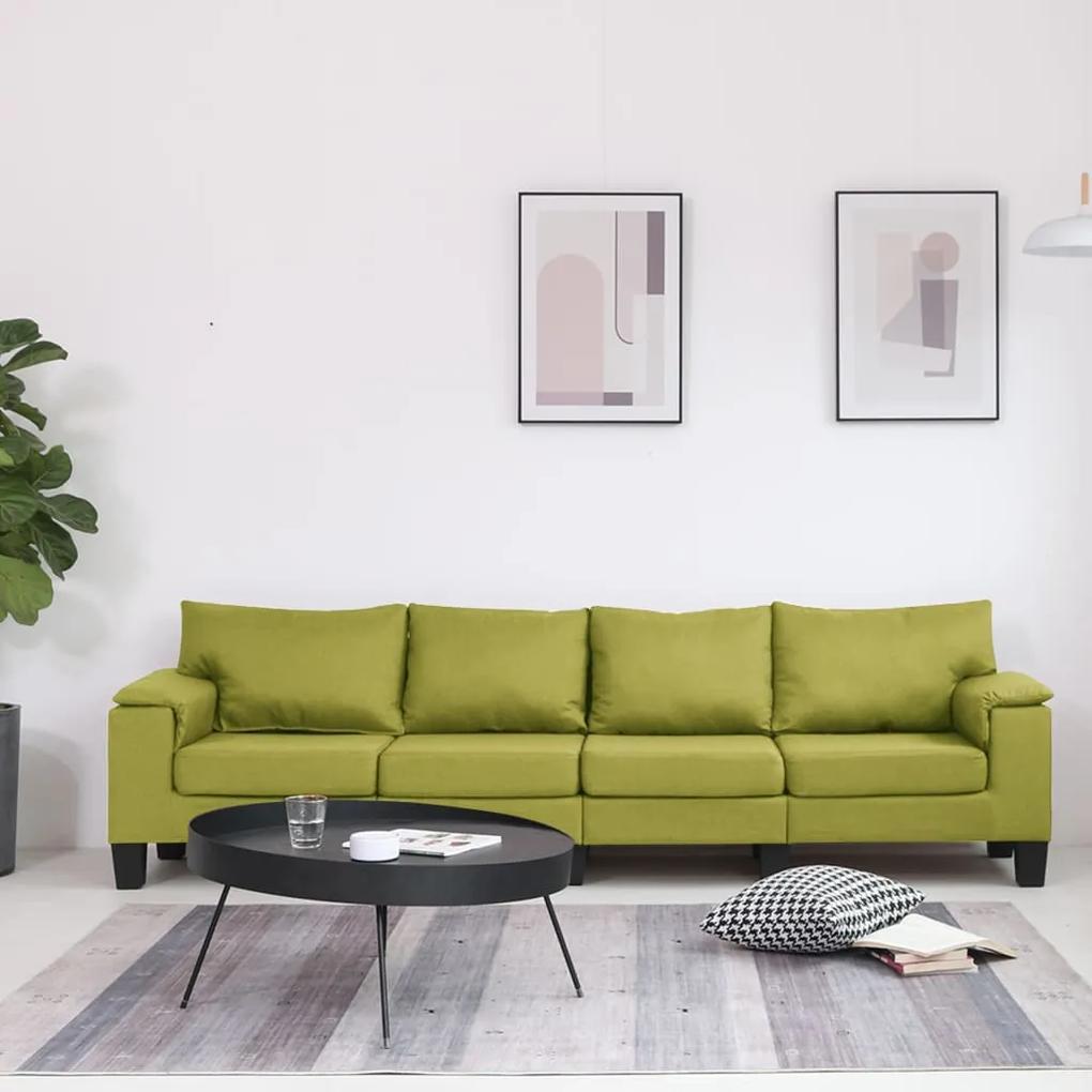 287095 vidaXL Canapea cu 4 locuri, verde, material textil