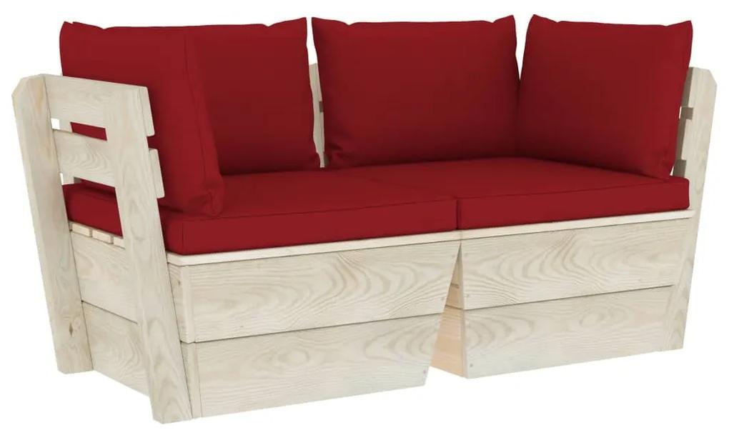 3063393 vidaXL Canapea grădină din paleți, 2 locuri, cu perne, lemn de molid