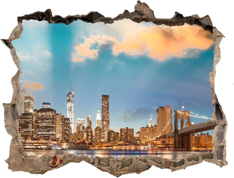 Fototapet un zid spart cu priveliște Podul brooklyn