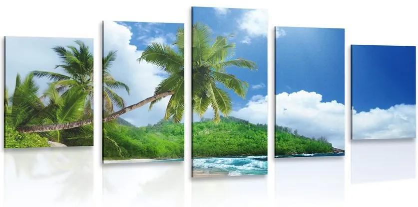 Tablou 5-piese plajă frumoasă pe insula Seychelles