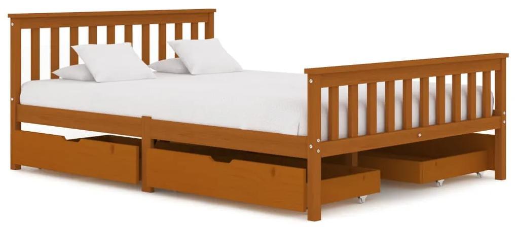 3060534 vidaXL Cadru de pat cu 4 sertare maro miere 140x200 cm lemn masiv pin