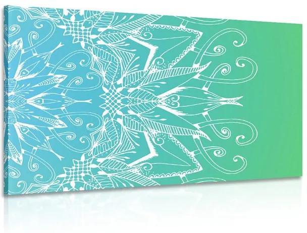 Tablou Mandala albă pe un fundal albastru-verde