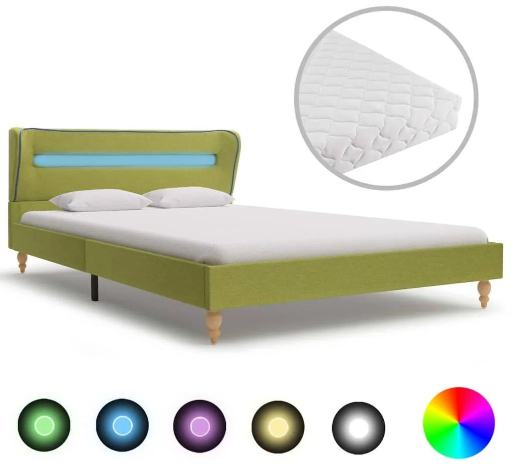 277701 vidaXL Pat cu LED și saltea, verde, 120 x 200 cm, material textil