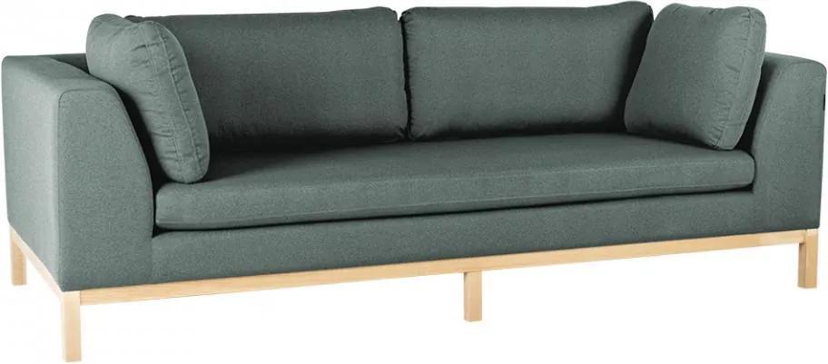 Canapea extensibila verde/maro din textil si lemn pentru 3 persoane Ambient