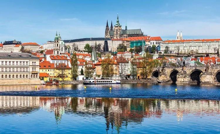 City Prague Bridge River Cathedral Fototapet, (416 x 254 cm)