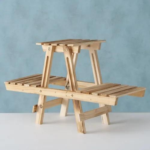 Suport ghivece din lemn de brad Falko Natural, l75xA28xH45 cm