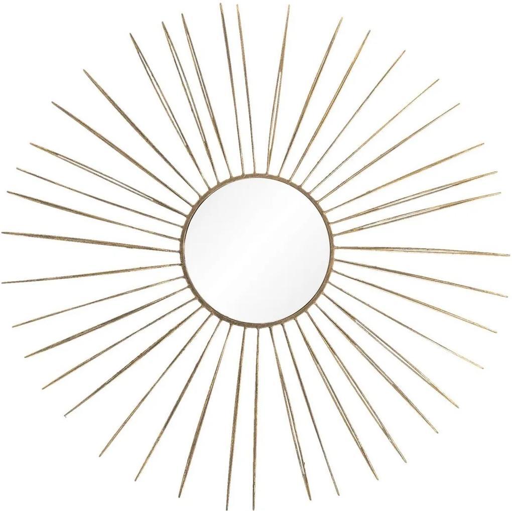 Oglinda de perete cu rama din metal auriu Ø 81 cm x 6 cm