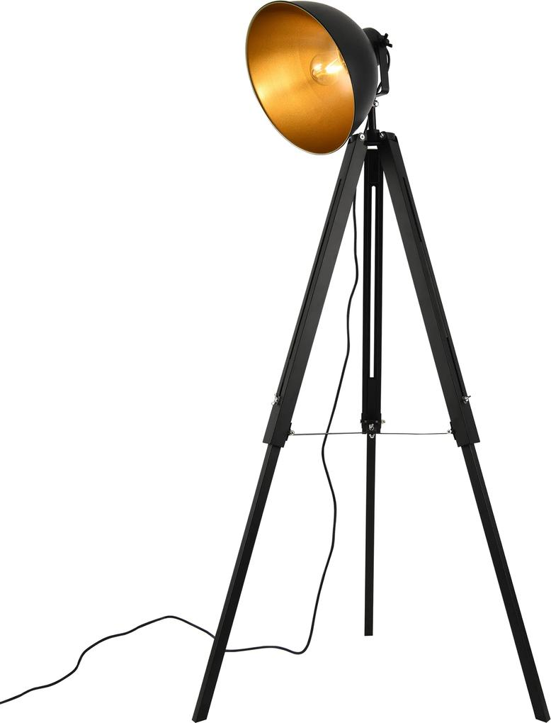 [lux.pro]® Lampadar Passau, design industrial, 230V, E27, 60W, 135 cm, Ø30 cm, metal, negru/auriu